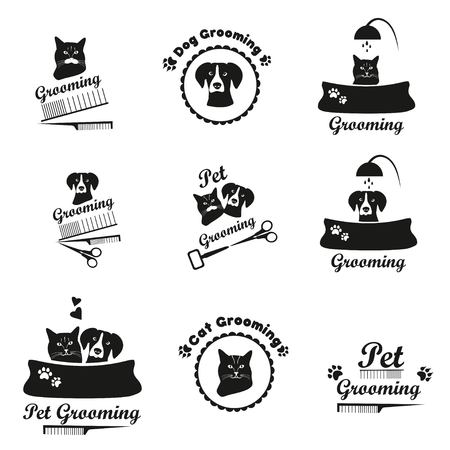 pet grooming: Pet grooming black emblem collection