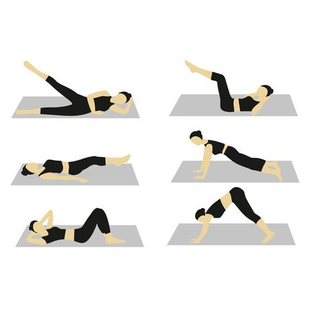 abdominal exercise: Fitness  exercise of women,Sport and fitness woman. Woman doing workout set. Abdominal exercises set