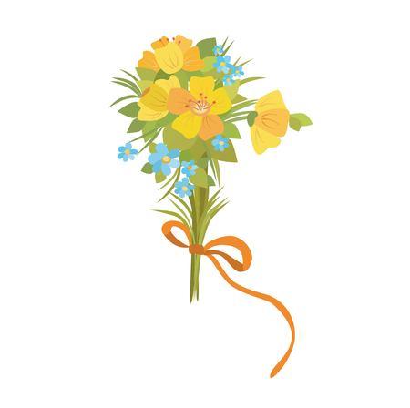 Hermosas flores bouque. Ramo de ilustración de flores silvestres.