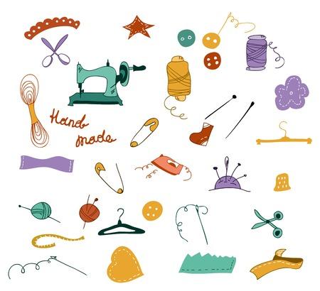 kit de costura: dibujado a mano de color de dibujos animados conjunto de objetos para la costura, artesanía. Herramientas de costura y kit de costura, equipo de costura, agujas, máquinas de coser, pines de coser, hilados. Cosa garabatos conjunto de vectores. Vectores
