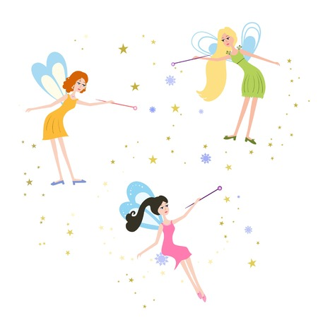 fabled: Set of cartoon fairies vector illustration. Illustration of Fairy for children, kids. Fairy with a magic wand. Illustration