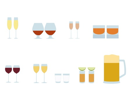 liqueur: Vector set of Colored  different alcohol  glasses icons. Set of glasses of champagne, brendy, liqueur, whiskey, red wine, white wine, vodka, tequila, beer Illustration