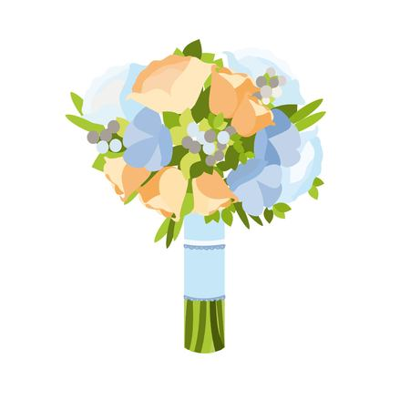 beautyful: Beautyful wedding bouquet vector illustration isolated on white background.Beautiful bridal bouquet in flat style.