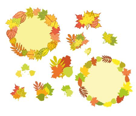 Set of hand drawn autumn elements for design.Frame with colorful autumn leaves,maple leaf illustration.