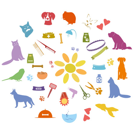 pet grooming: set of  pet icons.  Pet grooming,care services color signs. Pets colorful elements for design.