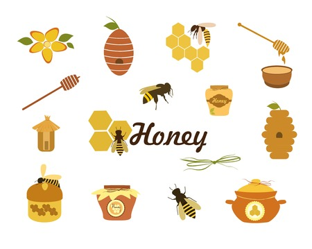 beeswax: Honey  icons. Set of bee, honey, beehive, wax cell, jars honey, honeycomb  illustration isolated on white background.