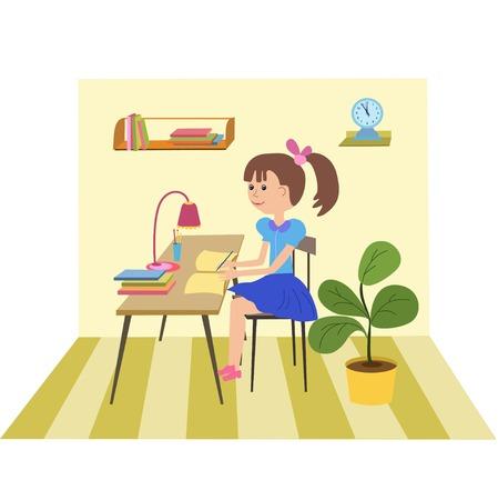 Muchacha que hace la escuela work.Young niña haciendo los deberes en la mesa de casa.