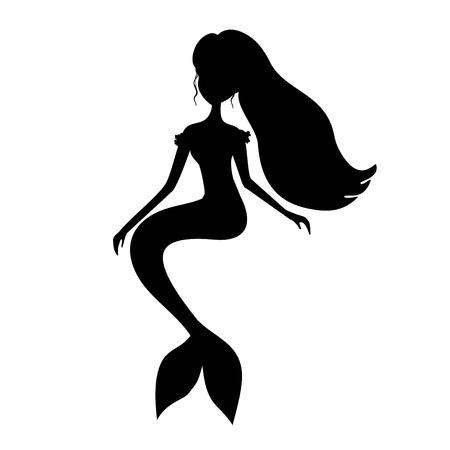 Black silhouette mermaid vector illustration Illustration