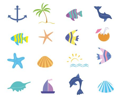 maritime: Maritime icons vector set Illustration