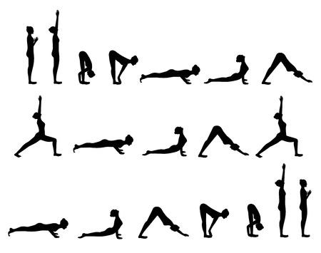 Black silhouette of yoga postures Sun Salutation isolated Ilustração
