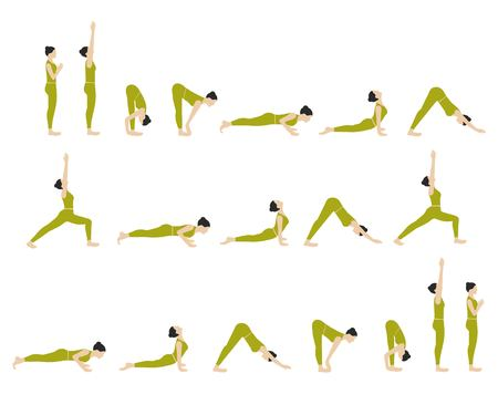 Vector illustration of yoga postures Sun Salutation. Yoga exercises set.