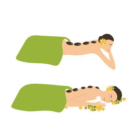 Woman Spa Massage Stones. Woman getting a hot stone massage in Wellness center vector illustration. Illustration