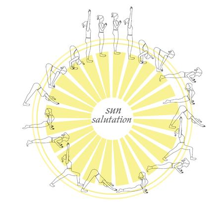 Sun Salutation Complex yoga postures in outline style.Yoga postures outline silhouette. Illustration