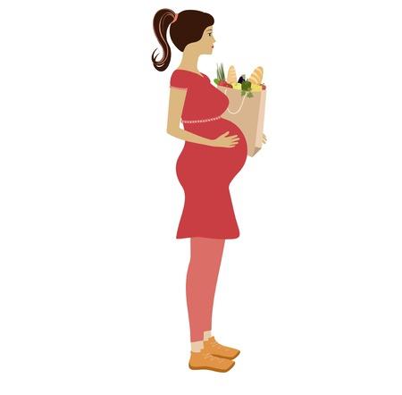mujer en el supermercado: Cartoon  Pregnant woman with bag of groceries vector illustration.