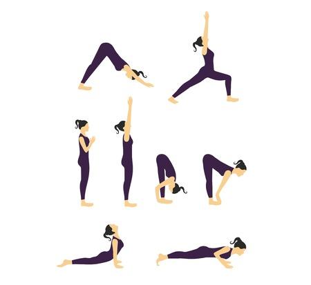 aerobics class: Women Yoga poses