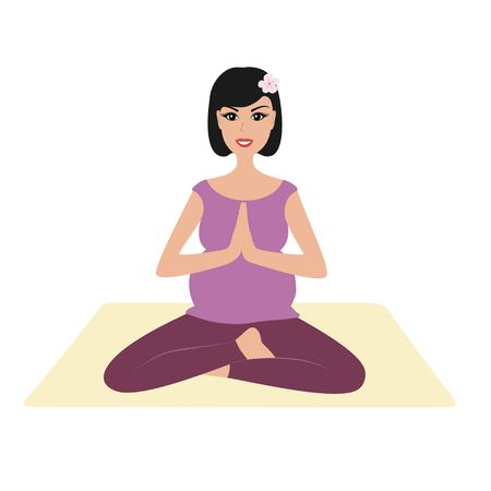 Pregnant girl namaste pose. Illustration