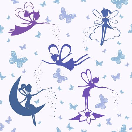 Pattern with fairy vector.