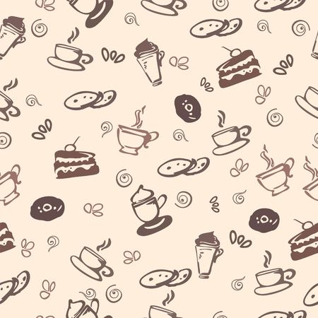 Seamless pattern with coffe 일러스트