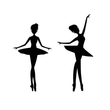 Black silhouette ballerina, ballet dancer vector illustration. Foto de archivo - 109026611