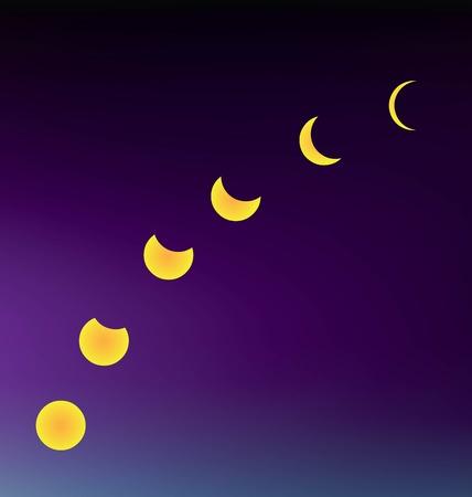 revolve: vector Moon multiple in night