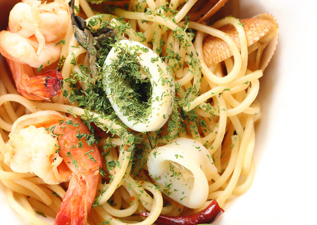 tantalizing: spagetti spicy seafood get a tantalizing taste