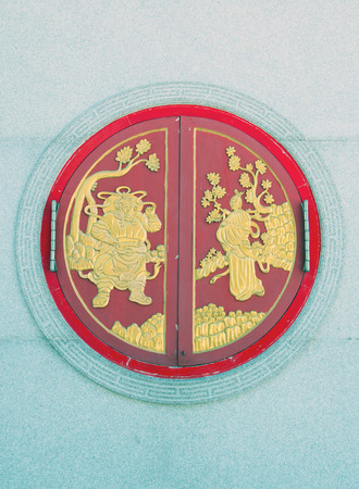 lengnoeiyi: Window of a Chinese temple in beautiful colors and patterns.