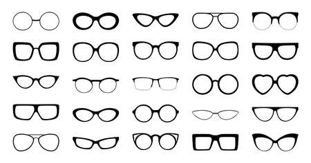 Black vector illustration of front view of different styles and shapes of glasses frames with no lenses.