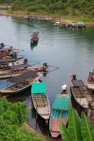thani: Boat at Chiewlarn Dam, Surat Thani, Thailand