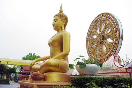 seated: Seated Buddha and dharmachakra, Wat Muang, Angthong, Thailand