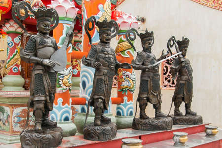 heavenly: Four Heavenly Kings, Wat Phanan Choeng, Ayutthaya, Thailand Stock Photo
