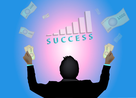 flying man: Successful business man with graph and money flying around