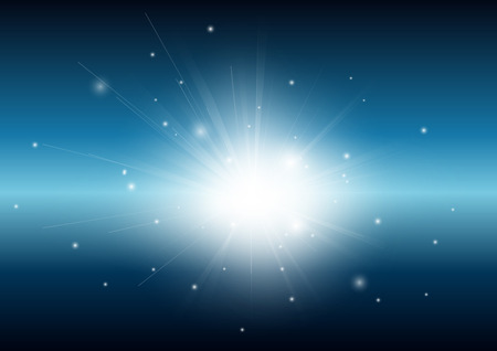 Black and blue with glowing light ray beam abstract background
