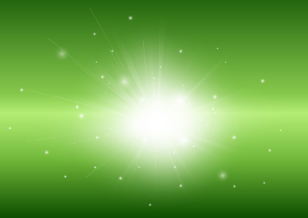 ray light: Green abstract background with glowing light ray beam for adverstisement Illustration