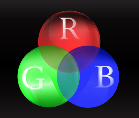 rgb: Red green blue chart - RGB on circle 3D balls explaining difference colors