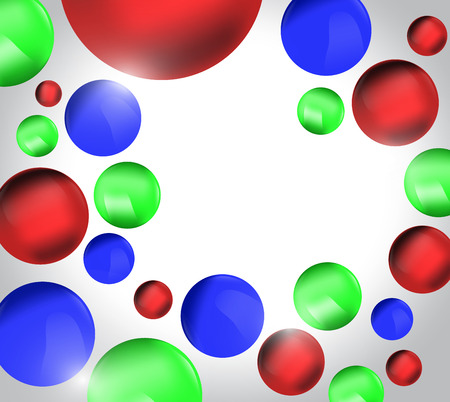 red' green: Red green blue 3D balls, colorful background