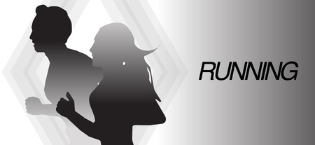 Running man and woman black and white banner background Illustration