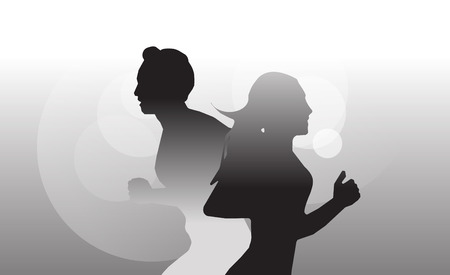 ray of light: Running man and woman sun light ray on blakc and white background Illustration