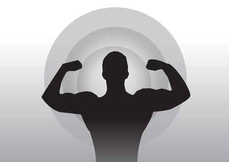 muscle women: Man flexing muscle exercise silhouette vector Illustration