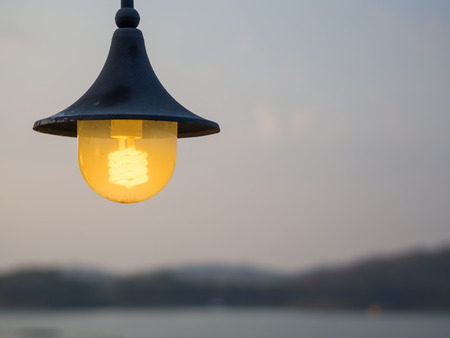 out door: Vintage out door light lamp, with dawn nature light