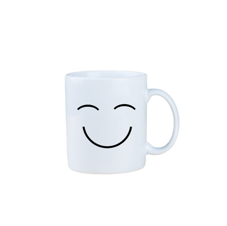 whote: Smiley coffee cup isolated on white background, with clipping path Stock Photo