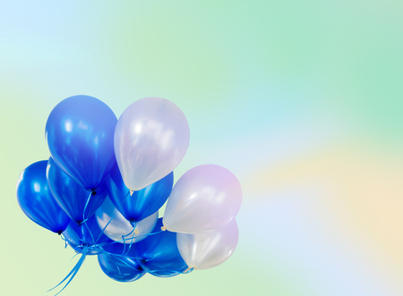 air: Pastel effected on balloons floating with copy space