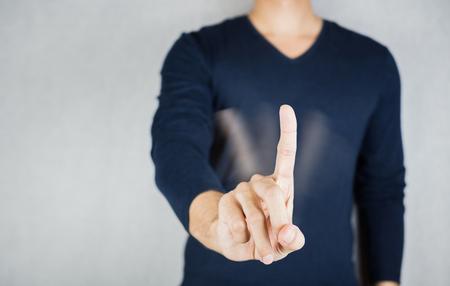 Motie van geen teken door wijsvinger, afwijzing lichaam gebaar concept