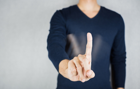 Motion of No sign by index finger, reject body gesture concept Foto de archivo