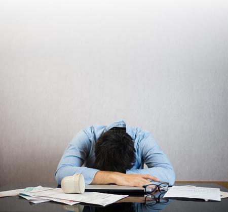 Fall asleep on work desk, stress and study hard concept