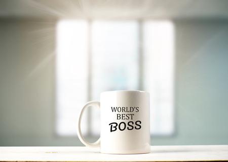 'S Werelds beste baastekst op koffiemok in koffie