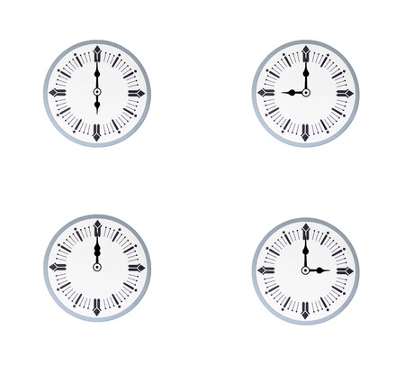 Vintage clocks with different time isolated on white background Stock Photo