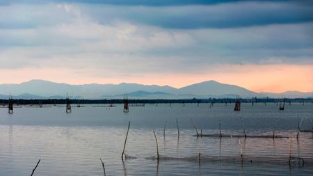 coop: Fish coop farm in Songkhla Lake, Thailand