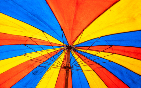 Close up of Under the old paint canvas umbrella