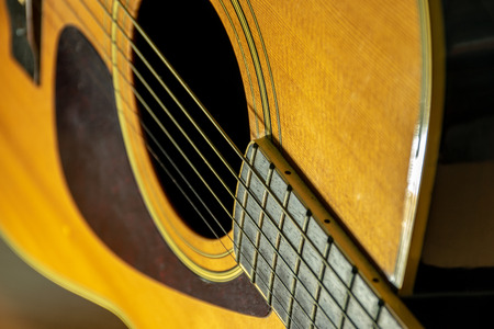 close up classic wooden acoustic guitar