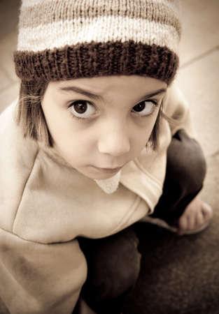 homeless children: Lonely Little Girl